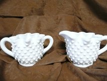 Vintage White Hobnail Glass Creamer & Sugar-reduced in Fort Riley, Kansas